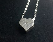 Precious treasures hammered sterling silver heart diamond accent .01 carat round necklace charm pendant Valentine's Day