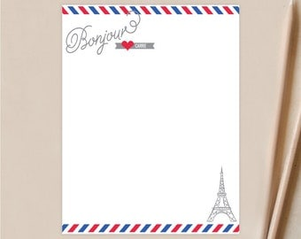 Bon Jour Air Mail Personalized Stationery - Personalized Note Cards - France -  Set of 12