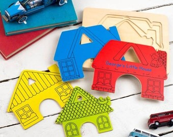 Personalised Wooden House Layer Puzzle - Personalized Kids Puzzle - Personalised Childrens Jigsaw
