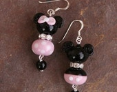 MOTHERSDAY SALE-A-Bration Matching Couple Mickey and Minnie Mouse Style Sra Lampwork Disney Inspired DeSIGNeR EaRRiNgs Black N Pink Polka Do