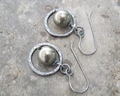 rustic pyrite and silver earrings, oxidized silver and stone earrings, metalwork earrings, boho pyrite earrings