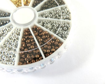 1680 Spacer Beads 2mm Round Metal 6 Color Plated Finish Assortment - 1680 pc - M7046-AS