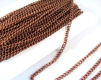 25ft Antique Copper Curb Chain Plated Iron 3.7x2.5mm Not Soldered - 25 feet - STR9047CH-AC25