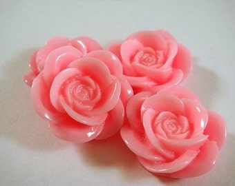 SALE - 8 Cabochon Bead Bright Pink Resin Rose Bead 18mm Flat Back - No Holes - 8 pc - CA2007-P8