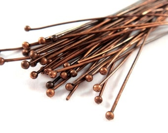 50 Ball Headpins Antique Copper Plated Brass 2.25 inch (57mm), 20-21 Gauge 1.5mm Ball - 50 pc - F4130BHP-R50