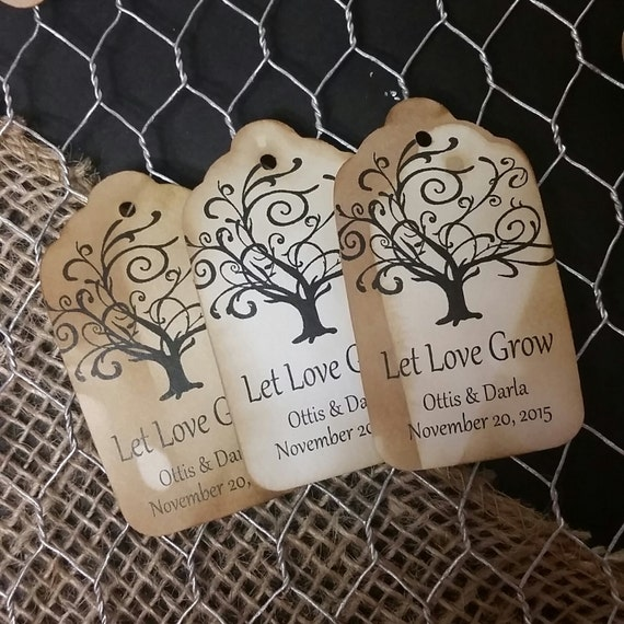 Let Love Grow Favor Tags CHOOSE your Quantity SMALL 2""