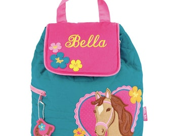 Girls Backpack Personalized Horse Heart Stephen Joseph Quilted Preschool Toddler