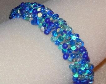 Handmade Blue Beaded Bracelet Fringe Caterpillar Bracelet in Shades of Blue