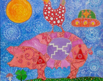 Magic chickens lucky pig ride 8x8 signed Giclee print on canvas folk art intuitive art for kitchen, child's room, visionary , intuitive  art