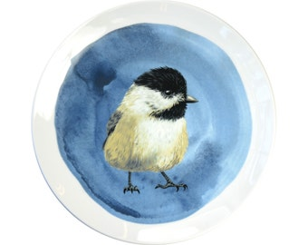Porcelain wall plate with the bird illustration - Chickadee- made to order