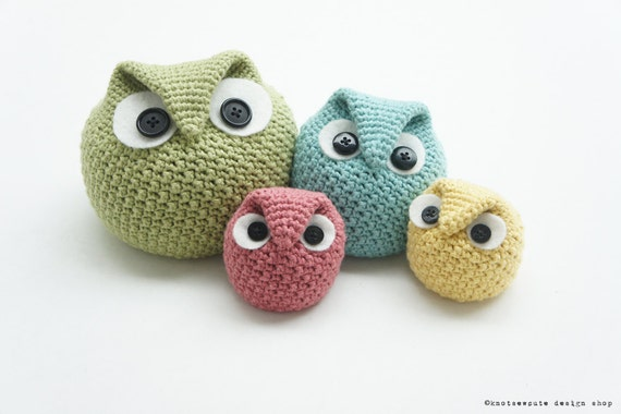 CROCHET PATTERN - Chubby Owl Family - Instant Download (PDF)