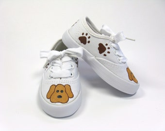 Puppy Shoes, Dog and Paw Print Sneakers, Hand Painted for Baby and Toddlers