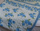 double sided quilt . floral 50s quilt . girls room quilt . blue floral retro quilt . retro quilt . twin quilt RESERVED