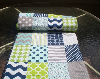 Baby quilt,Nautical Baby quilt,navy blue,teal,grey,lime green,Baby boy bedding,baby boy quilt,crib,toddler,waves,chevron,Nautical Lime Twist