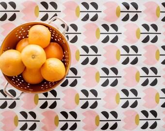 Tulip Cotton Linen Table Runner // Floral / Scandinavian / Midcentury