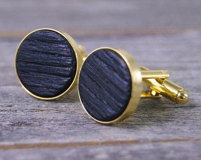 Whiskey Barrel Oak Wood Cufflinks in 16mm Gold Bezel