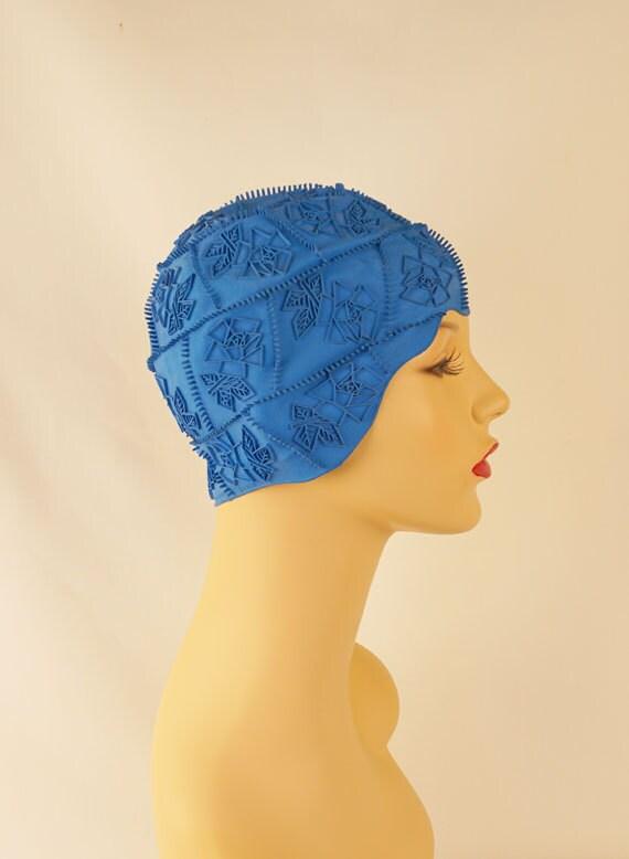 Vintage 1950s Jantzen Sky Blue Rubber Swim Cap Bathing Cap