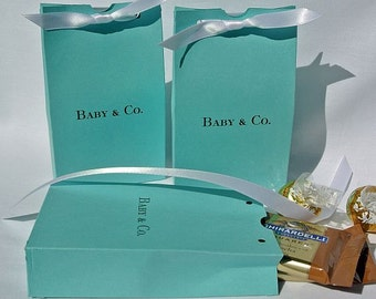 Baby Shower -Aqua Blue Baby Favors - Baby Shower Favor Boxes - Personalized Favors