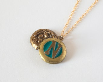 N Necklace - Initial N Jewelry - Nest Necklace - Letter N Necklace - Nest Locket - Personalized Necklace - Monogram Necklace