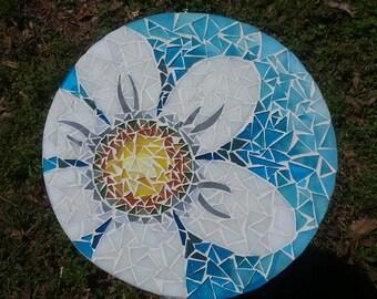 Mosaic Lazy Susan Daisy on Shades of Aqua and Blue 13 Inch OOAK