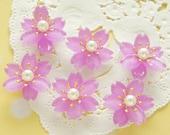 4 pcs  Plastic Gorgeous Sakura / Cherry blossom Flower Cabochon (19mm21mm) Purple FL420