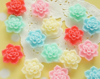 10 pcs Glitter Sugary Dahlia Cabochon (19mm21mm) FL435 (((LAST)))