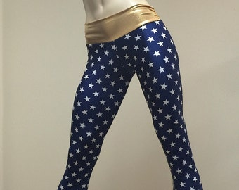 Super Hero Hot Yoga Fitness Capri Pants Navy and Gold Stars Print SXYfitness Brand Item #1279 Sizes xxs-xxl (00-18 US)