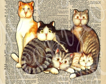 Instant Download - Vintage Dictionary with Cats -  U Print Digital Download Collage Sheet