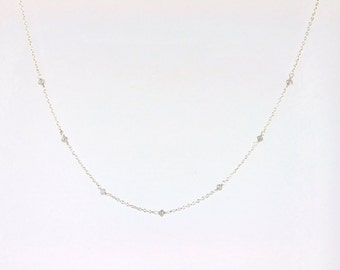 Faceted Grey Diamond Bead Station Necklace in Solid 14k White Gold