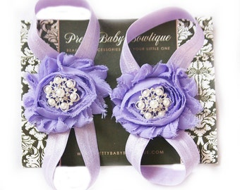 Barefoot Sandals- Photo Prop- Baby Shoes- Baby Girl Sandals- Barefoot Sandals Lavender