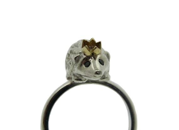 Hedgehog Ring, Sterling Silver, Black Diamond Eyes, Gold Crown, Handmade in Brighton, uk
