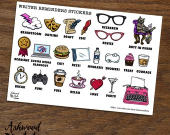 Writer Reminders - Nanowrimo - Writers Planner Stickers