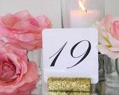 Table Number Holder + Gold Glitter Table Number Holder- Set of 25