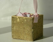 Flower Girl Basket + Gold Rhinestone wrapped wood Flower Girl Basket with ribbon Handle (4 x 4)