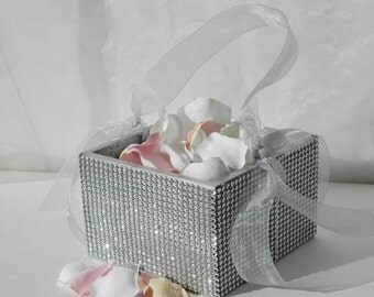 20% off ends 5pm Sun. Flower Girl Basket + Silver Rhinestone wrapped wood Flower Girl Basket with ribbon Handle (6 x 6 x 3.5)