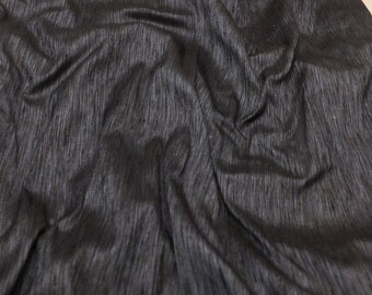 Steel Blue & Black Silk DUPIONI Fabric - 1 Yard