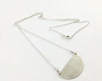 Sterling Silver Petite Crescent Necklace by Maribelle Campa