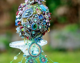 Wedding brooch bouquet the PEACOCK BABY  vintage rhinestone - SALE - purple green blue gold