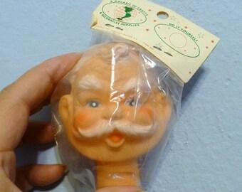 Santa Old Man Grandpa Vintage Doll Head New in Package