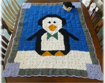 Penguin Afghan Blanket with Stuffed Penguin Crochet Granny Squares Photo Prop