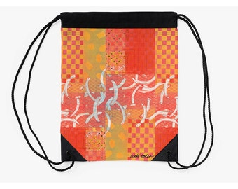 Cinch Bag,Boho Bag,Shabby Chic,Cinch Sack,Drawstring Backpack,Unique Back to School Supplies,Holiday Gifts for Students,Festival Bag