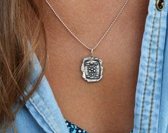 Sea Turtle Necklace, Sea Turtle Jewelry, Sea Turtle Wax Seal Necklace, Sterling Silver Sea Turtle Necklace, Nautical Jewelry Gift Idea