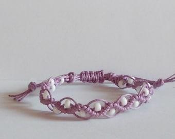 Mikrama Armband Makramee lila violett