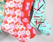 Christmas Stockings - Ornaments - Pink Red White - Boy Girl Family - Holiday decoration - cyber monday sale