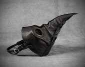 Jackdaw leather plague doctor mask in antique black