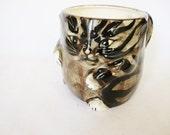 vintage cat mug, ceramic cat, fat kitty cup, mann Japan