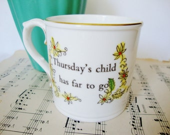 vintage english cup day of week birth birthday gift thursdays child royal worcester bone china mug