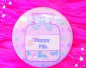 Happy Pills Button, Menhera Button, Medicine Bottle