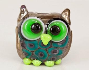 Purple Green Owl Lampwork Bead