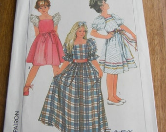 Vintage Girls Pullover Dress Pattern #7429 Size 14 Uncut